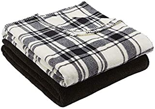 Mainstay Black Plaid Throw/Blanket 50 x 60 inches Pack of 2 100% Polyester Fleece