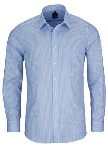 OLYMP Herren Hemd Level 5 Body Fit Langarm, SH Streifen hellblau, 40