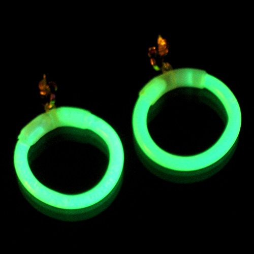 1paar Knicklichter Creolen Ohrringe GRÜN mit Ohrclip und wiederverwendbar