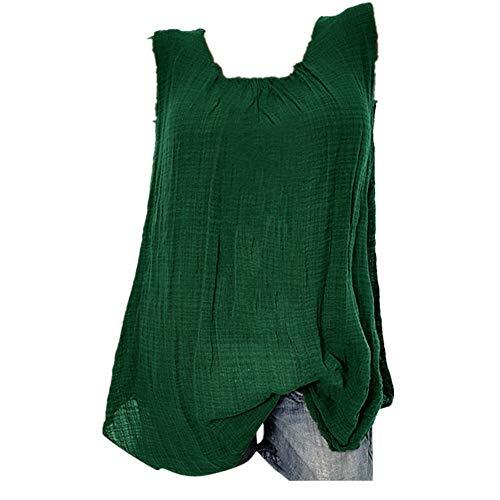 YEBIRAL Große Größe Damen Tunika Top Sommer Lässige Ärmellos Einfarbig mit Rundhals Leinen Shirt Bluse Lose T-Shirt Tanktop(XXXXXL,Grün)