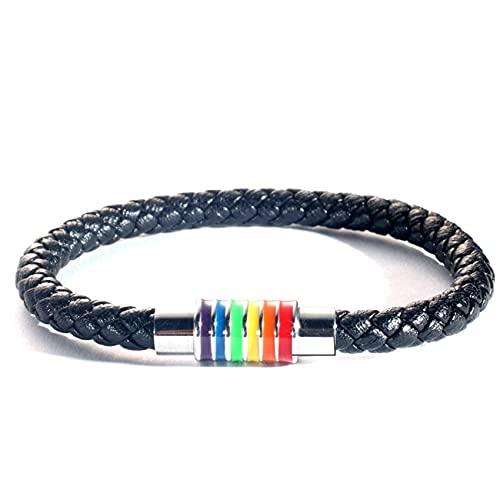 Gilieyer Pulseras de arco iris, pareja Pulsera de cuero negro con acero inoxidable a rayas de arco iris, Brazalete de arco iris LGBT Brazalete de cuero para gays y lesbianas Joyería trenzada (plata)