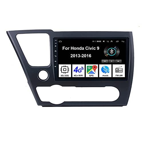 Android 10 Radio De Coche 9 Pulgadas Pantalla Táctil Reproductor De Mirror Link Para Honda Civic 9 2013-2016 Coche Conecta Y Reproduce Coche Audio FM/Am/RDS Video SWC Cámara Trasera