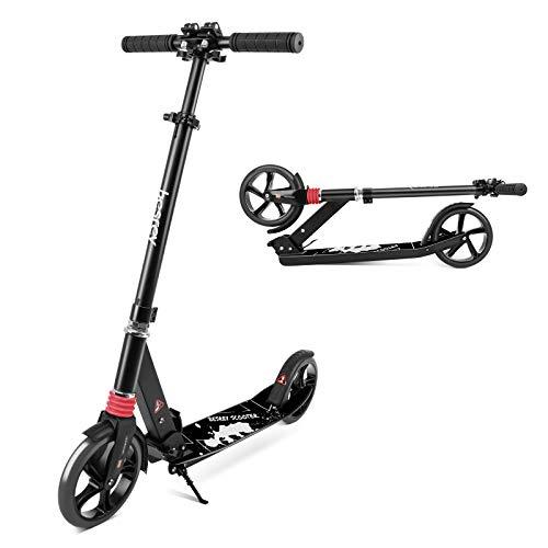 besrey Scooter Kickscooter Tretroller Klappbar Höhenverstellbar Roller für Erwachsene Kinder Teenager ab 8 Jahren City Roller mit 200MM Big Wheel - Schwarz
