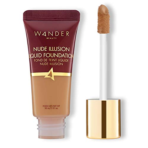 Foundation Liquid Makeup - Color Corrector - WANDER BEAUTY NUDE ILLUSION LIQUID FOUNDATION - Vegan Makeup, Buildable, Natural Radiant Finish. Spot Concealer, Covers Blemishes, Redness & Discoloration