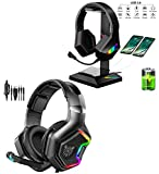GLEENFIT Gaming Headset,PS5&PS4 headset with microphone,Xbox One Headset with Noise Canceling Mic&Led Light, PC Headset with 7.1 Bass Surround Sound, Nintendo Switch Headset with Mic,Soft Memory Earmu