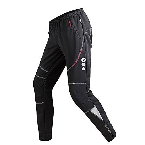Santic Pantaloni da Ciclismo da Uomo Invernali Bici Bicicletta Fleece Outdoor Campeggio Trekking Corsa Nero XL