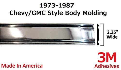 Autmotive Authority 1973-1987 Chevy GMC Chrome Side Body Trim Molding C10, C20, C30, K10, K20, K30, V10, Suburban, Custom Deluxe, Silverado, Pickup Trucks - 2.25