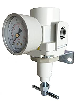 "PneumaticPlus SAR4000T-N04BG Air Pressure Regulator T-Handle 1/2"" NPT with Gauge & Bracket from PneumaticPlus"
