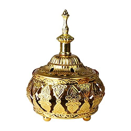 MagiDeal Quemador de Incienso Dorado metálico con Tapa para casa, Dormitorio, Sala de meditación, Adorno para el Templo - C