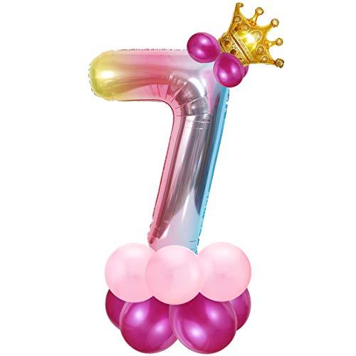 Foil Globo Número 7 Rosa, 7er Cumpleaños Globos, Feliz Cumpleaños Decoración Globos 7 Años Niñas, Arco Iris Globos de Número 7, Globos Numeros para Cumpleaños, Fiesta, Decoración