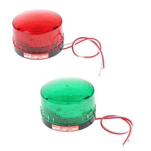 Sharplace 2pcs 24V LED Lumière Ronde Flash Lampe - Rouge/Vert