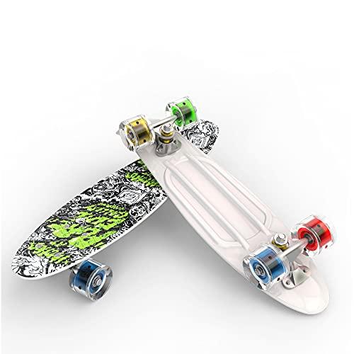 WYYUE Skateboards, Skate Board Completa para Adultos, Niños, Principiantes, Adolescentes, Antideslizantes Longboard Mini Cruiser con Ruedas De Flash LED Y Rodamientos De Bolas ABEC-7