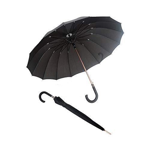 Smati Parapluie long noir automatisch - Gentleman 16 baleinen fibre de verre Susino paraplu, 92 cm, 114 liter, zwart (Noir)