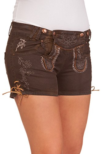 Hangowear Trachten Damen Shorts - Color Jeans - braun, Größe 36