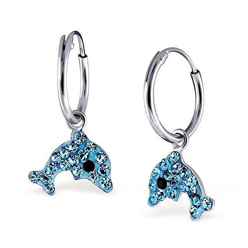 Kristall Delfin Creolen Ohrringe 925 Echt Silber Mädchen Kinder Ohrhänger Delphin (Aquablau)