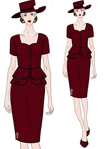 AISIZE Women 1940s Vintage Button Elegant Sweetheart Peplum Prom Dress Medium Burgundy