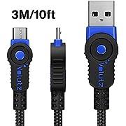 Volutz Câble Micro USB 3 m à Charge Rapide, Extra Long pour Manette PS4, câble de Charge tressé, Durable et Rapide pour Samsung Galaxy S6 S7, HTC, Sony, LG, Kindle, Xbox - 3M Bleu