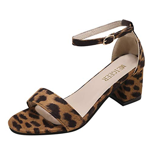 NJGRAE Summer Sandals For Women Shoes Women Casual Summer New Large Leopard Print Thick Heel Open Toe Sandals Lady