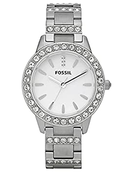 Fossil Women s Jesse Quartz Stainless Steel Three-Hand Watch Color  Silver Glitz  Model  ES2362