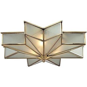 "ELK Lighting 22011/3 Decostar Collection 3 Light Flush Mount, 6 x 21 x 21"", Brushed Brass"