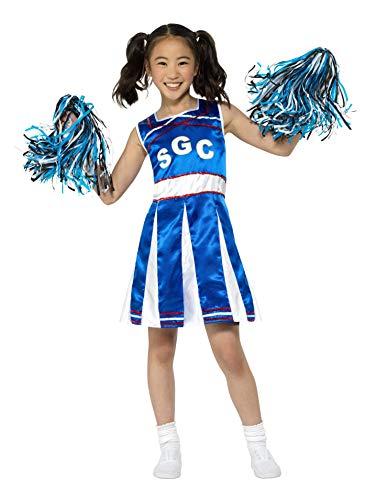 Smiffys Cheerleader Costume Disfraz de Animadora, Color Azul, M-Age 7-9 Years (49737M)