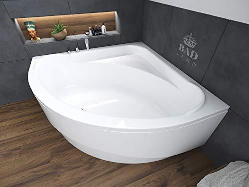 BADLAND Eckbadewanne Eckwanne Standard 140x140 mit Acrylschürze, Füßen und Ablaufgarnitur GRATIS