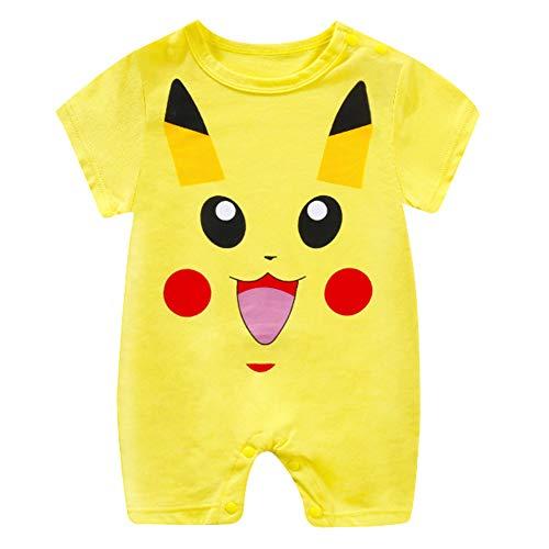 Bebe Monos Recién Nacido Bebé Niño Niña Historieta Mameluco Lindo Peleles Escalada Totoro Ropa Pikachu Verano (Pikachu,90cm)