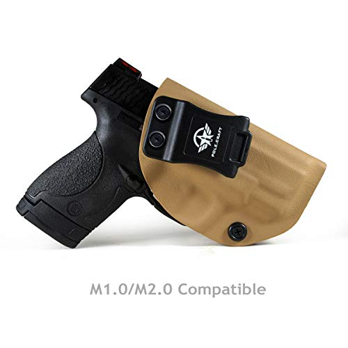 Kydex IWB Holster For Smith & Wesson M&P Shield M2.0 9mm 40 S&W / Crimson Trace Laser / Integrated CT Laser Isnside Waistband Concealed Carry Holster Guns Accessories (Tan - No Laser, Right Hand)