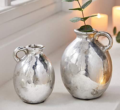 """Henkel-Vase """"Silber"""", 2er Set, 13 & 16 cm klein aus Porzellan, Deko-Tischvase, Retro Kugelvase, Blumenvase"""