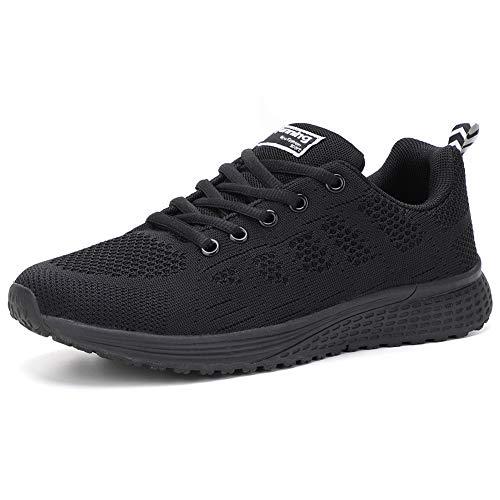HKR Damen Laufschuhe Sneaker Straßenlaufschuhe Sportschuhe Turnschuhe Outdoor Leichtgewichts Freizeit Atmungsaktive Fitness Schuhe Schwarz EU 36