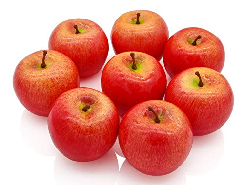JEDFORE Fake Apples Artificial Red Apples Simulation Lifelike Fruit Set for Home House Kitchen Wedding Party Decoration Photography (8Pcs)