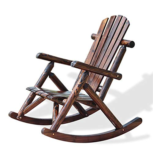 Outdoor Terrace Solid Wood Bench Rocking Chair, Modern Solid Wood Log Deck, Garden Furniture Single Rocking Chair and Safe to sit on a Recliner (Color : Carbonized Color)