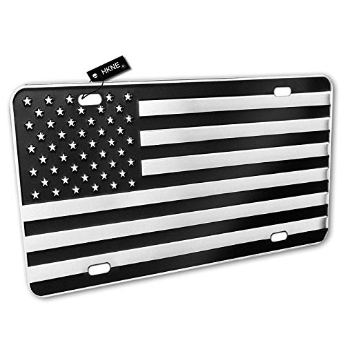 HKNE American Flag Metal Embossed License Plate – Aluminum License Plate Black Chrome American Flag Auto Tag for Cars and Trucks Vehicles – Vanity Tags for Women Girls Men Boys 12'x6' Standard Size