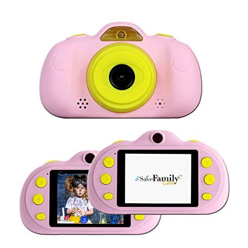 SaveFamilyCam. Cámara de Fotos para Niños. Cámara de vídeo Infantil. Cámara Digital SaveFamily Infantil. Gratis Tarjeta de Memoria. Marca española. Selfies, filtros, Juegos y MP3. Rosa.