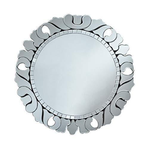 Miroirs Miroir Mural Miroir De Porche Européen Miroir Décoratif De Salon Mur De Fond Miroir Suspendu Rond Miroir De Salle De Bain Argenté Miroir Suspendu Au Mur