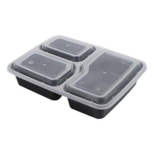 Bandejas de plástico para almacenamiento de alimentos, 3 compartimentos, contenedores de preparación de comidas, paquete de 10 para control de porciones de alimentos