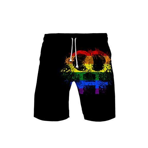 URVIP Kinder Regenbogen Pride Flag Gay LGBT Shorts 3D Druck Kurze Hose Badehose Freizeithose Jogginghose Sporthose Trainingshose Jogger Sweatpants Regenbogen-03 M