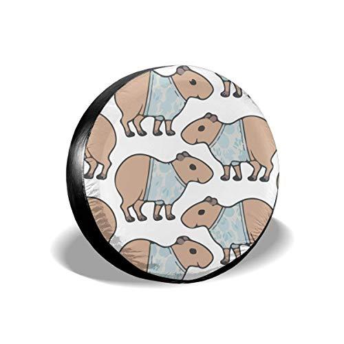 Drew Tours Capybara Cute Cartoon Pattern Universal tragbare Radkappen Ersatzreifenabdeckung Größe 15inch