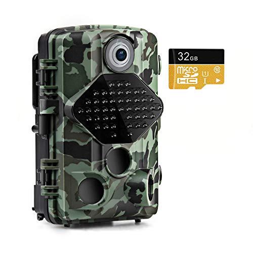usogood Cámaras de Caza 20MP 1080P con Tarjeta SD de 32GB Cámara de Fototrampeo Vigilancia de Visión Nocturna, Impermeable IP66, Cámara de Juegos Nocturna por Infrarrojos activada por el Movimiento