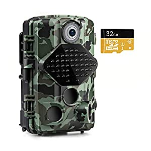 "usogood Wildlife Camera with 32GB Memory Card 20MP 1080P Trail Camera Night Vision Motion Activated IP66 Waterproof 2.4"" LCD for Outdoor Wildlife, Garden, Animal Scouting and Security Surveillance"