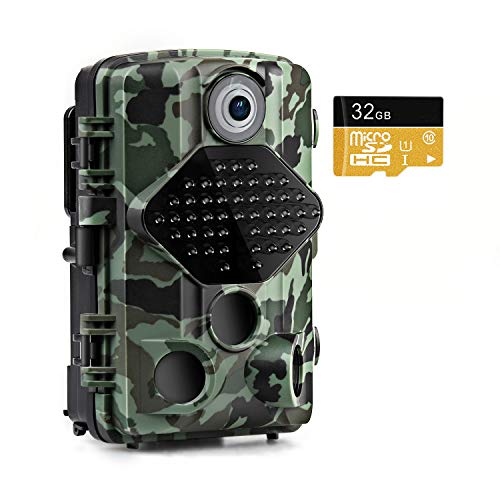 Usogood Trail Game Camera with 32GB Memory Card 20MP 1080P Night Vision Hunting Camera Motion Activated IP66 Waterproof 2.4' LCD for Outdoor Wildlife, Garden, Animal Scouting and Security Surveillance