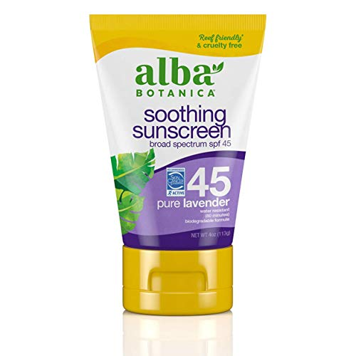 Alba Botanica Sunscreen Lotion, SPF 45, Pure Lavender, 4 Oz
