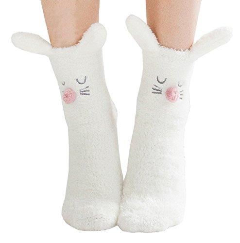 Sheliky Slipper Socks Fuzzy Socks Fleece Crew Socks Animal Winter Socks for Women Girls (Bunny)