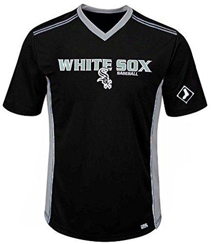 VF Chicago White Sox MLB Mens Cool Base Performance V Neck Jersey Black Big Sizes (3XL)