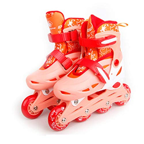 WFSH Patines en línea de Rodillos, Patines para niños Ligeros Ajustables con Ruedas Luminosas, Patines para niños y niñas Color : Red, Size : Medium(34-37)