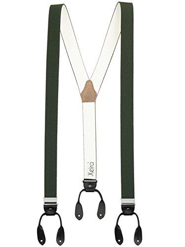 Xeira Hosenträger Dunkelgrün für Herren und Damen mit Vintage Lederriemen