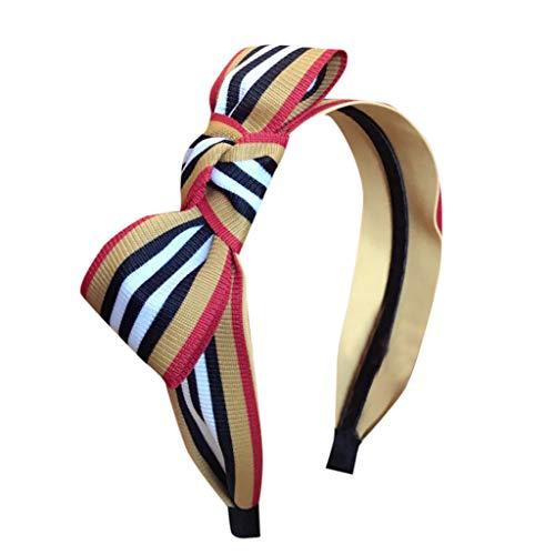 Wancooy - Diadema para mujer, diseño retro con flores, diseño de rayas, amarillo, talla única
