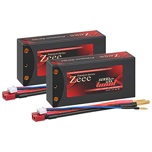 Zeee Premium Series 2S 7.6V Shorty Lipo Battery 6000mAh 120C Hard Case with 4mm Bullet to Deans Connector High Voltage Battery for RC 1/10 Scale Vehicles Car Trucks Boats RC Models (2 Pack)