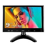 WHOLEV Monitor HDMI da 9 pollici HD 1024 * 600 schermo a colori CCTV Monitor Touch Tasto con AV/VGA/HDMI/ingresso cuffie per Raspberry Pi Home Security CCTV PC Display