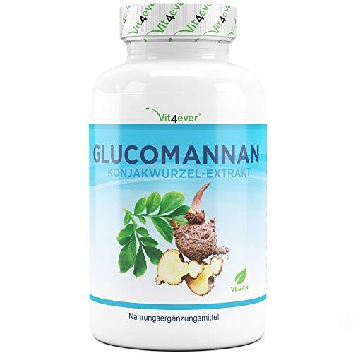 Abnehmen mit Glucomannan aus der Konjak Wurzel - 180 Kapseln - Premium: Hochdosiert mit 4200 mg je Tagesportion & optimiert mit Chrom - Laborgeprüft - Vegan